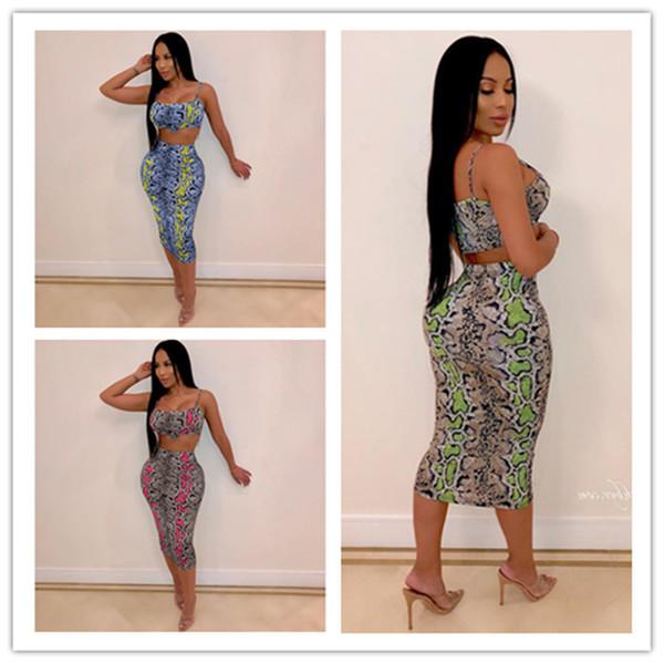 Summer Women Dress Suit Sleeveless Bra Crop Vest Tank + Tight Dress 2 Piece Skirt Sets Snake Python Pattern Club Wear Sexy Party Cloth A3135