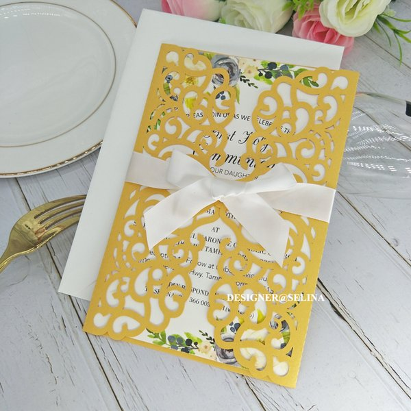 Compre Invitación De Boda Con Corte Láser De Color Amarillo Dorado De Flora Con Tarjetas De Invitación De Cinta Para La Fiesta De Cóctel De