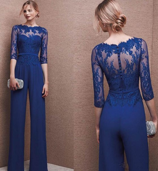 Lace Jumpsuit Mother Of Bride Pant Suits with Long Sleeves Plus Size Mothers Floor Length Evening Party Gowns GH009