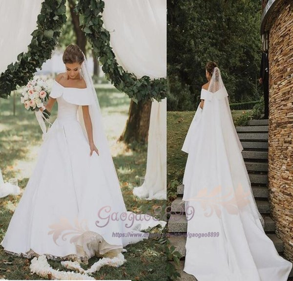 2019 Vintage Country Stain off the shoulder wedding dresses with tulle skirts lace up Bohemian long Wedding Gowns plus size vestido de novia