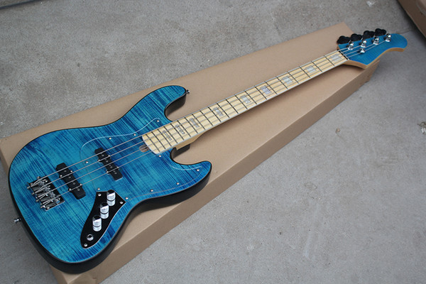 top popular Factory Custom Blue 4-string Electric Bass Guitar with Flame Maple Veneer,Transparent Pickguard,Chrome Hardware,Offer Customized 2021