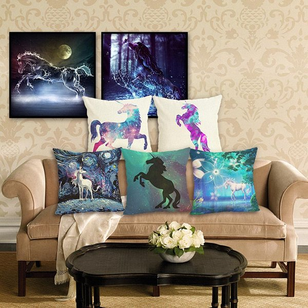 45cm Colorful Horse Cotton Linen Fabric Throw Pillow 18inch Fashion Hotal Office Bedroom Decorate Sofa Chair Cushion