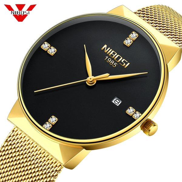 Nibosi Gold Watch Men Fashion Sport Quartz Diamond Simple Clock Top Brand Luxury Waterproof Mens Watches Reloj Relogio Masculino Y19051703
