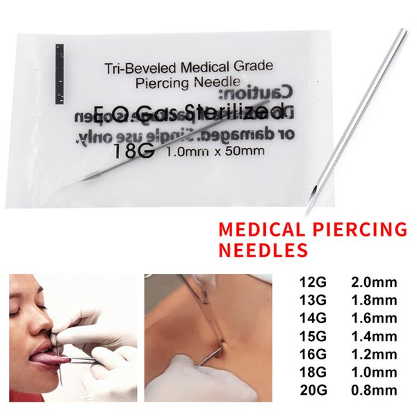 14 Gauge 100PCS Piercing Needles Sterile Disposable Body Piercing Needles 12/13/14/15/16/18G For Ear Nose Navel Nipple for Piercing Supplies