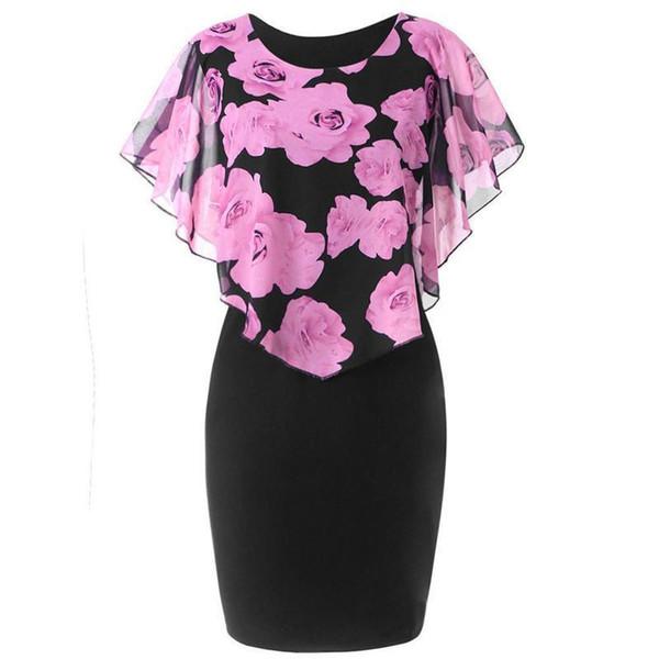 Trendy Women Dress round neck sleeveless Summer casual Party Rose Print Chiffon Ruffles Mini Dresses one pieces