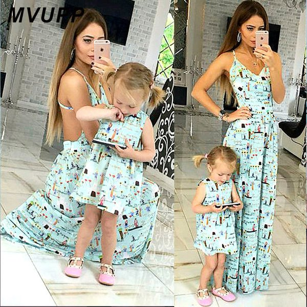 Mvupp Mother Daughter Dresses Foral Print Mommy And Me Clothes For Mama Mom Toddler Baby Girl Family Look Matching Outfits Dress Y19051103