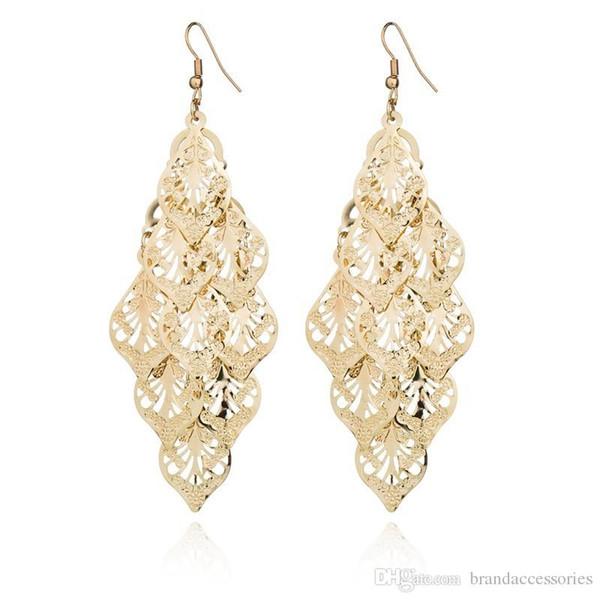 Shining Gold Silver Alloy Drop Earrings 2019 Fashion Womens Hollow Leaves Eardrop Long Earrings Gun black Drop Earring Jewelry Wedding E751