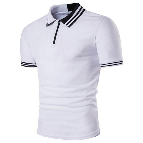 Летние новые мужские случайные рубашки поло мужчин личность отворот с короткими рукавами рубашки поло моды городской молодежи контраст цвета футболки
