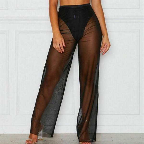 Женщины Mesh See Through Бикини Купальник прикрыть брюки