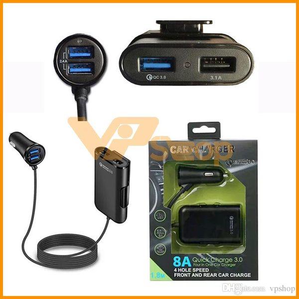 4 USB Ports Schnellladegerät Schnellladung QC 3.0 Universal USB Schnelladapter Mit Verlängerungskabel Autoladegerät Für iPhone Samsung Smartphone dhl