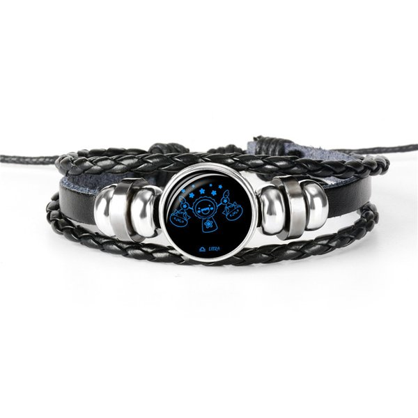 DropShiping 12 Constellation Zodiac Libra Time Gem Glass Cabochon Jewelry Black Punk Cowhide Leather Rope Beaded Cuff Bracelet for Men Women
