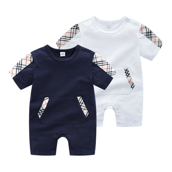 Retail Summer Boys Baby Clothing Short Sleeved Jumpsuit Newborn Romper Baby Boy Clothes Infant 0-24 Baby Rompers