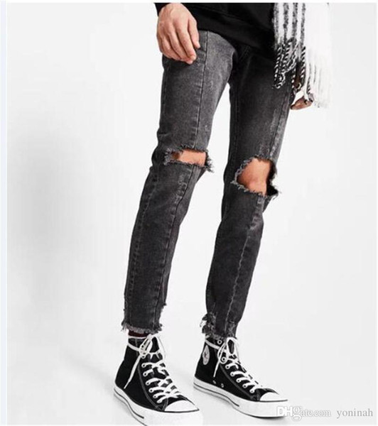Wholesale Free Shipping New Men Hole Ripped Skinny Jeans Destroyed Jogger Slim Fit Casual Black Washed Denim Pencil Pant made in China