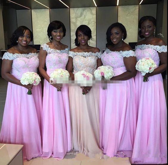 Nueva una línea negra niñas vestidos de dama del hombro apliques de gasa piso del cordón longitud dama de honor vestido de boda de los vestidos de los huéspedes