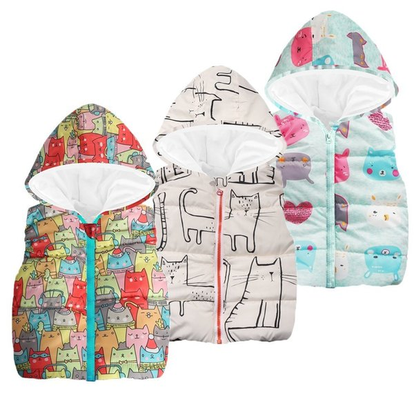 good quality Baby jeans jacket Kids Girls Boys Coat Sleeveless Cartoon Cat Hooded Warm Waistcoat Tops Fall Winter clothes veste enfant
