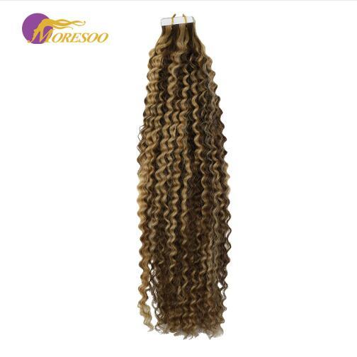 Tape in Remy Hair Extensions Kinky Curly Highlight Color Brown #4 with Blonde #27 Seamless Skin Weft Hair Extensions 50G
