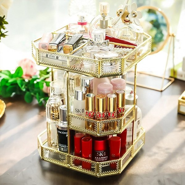 360 Degree Rotating office home hotel restaurant Makeup storage Organizer Antique Countertop Cosmetic Storage Box Glass Beauty Display