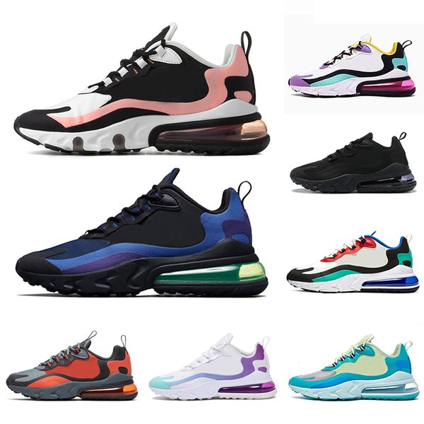 Großhandel Nike Air Max 270 React Shoes Airmax 270 Bleached Coral Dusk Purple React Mens Running Shoes Grey Orange Bauhaus Deep Royal Blue In My Feels