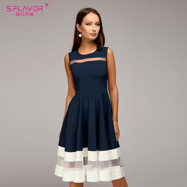 S.flavor Summer Women Sleeveless Fashion A-line Vestidos Slim O-neck Sexy Vintage Elegant Ptrty Dress For Female Q190510
