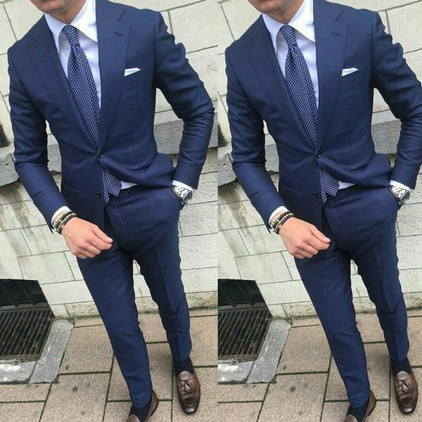 Latest Design Navy Blue Men Suits for Wedding Man Suits Notch Lapel Groom Tuxedos 2Piece (Coat+Pants) Cotume Homme Slim Fit Terno Masculino