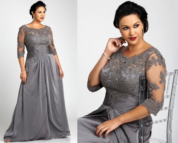 Vintage Lace Plus Size Gray Mother Of The Bride Dresses With Long Sleeves Scoop Neck Lace Chiffon Women Formal Gowns
