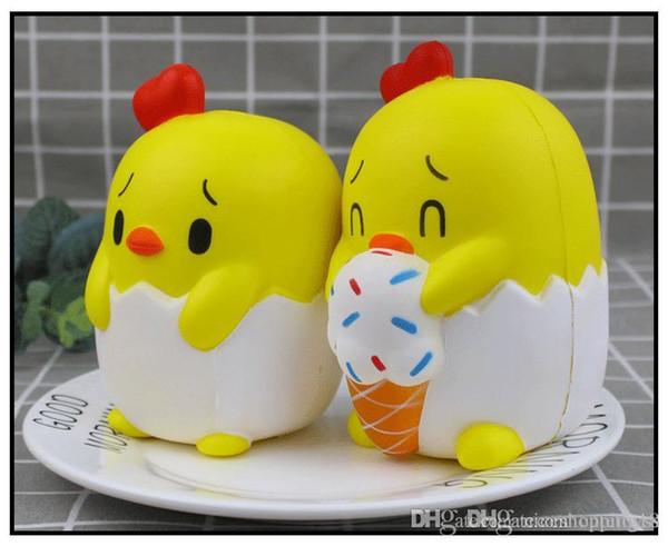 Cartoon Chick Eat Ice Cream Squishy Carino 13 cm Jumbo Slow Rising Cinghie Del Telefono Del Fumetto Pendente Pane Profumato Kids Fun Toy Regalo e540