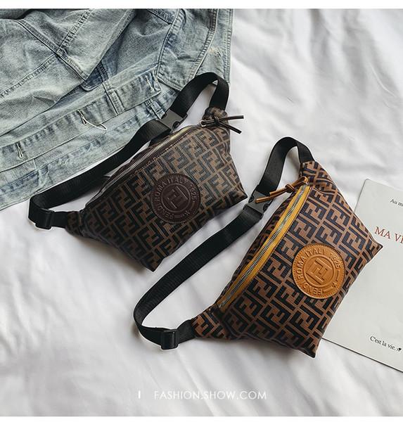 2 Cores F Carta PU Fanny Pack Saco Da Cintura Unisex Hip-Hop Cinto Saco PU Messenger Bags Bolsa de Ombro PU Sacos No Peito CCA11652 1 pcs