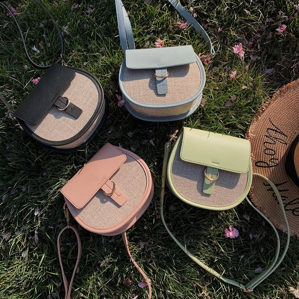 Xiniu Women's Fashion Patchwork One-Shoulder Hand-Held Small Saddle Bag Famous Brand2019 Fashion Borsa a tracolla da donna#30