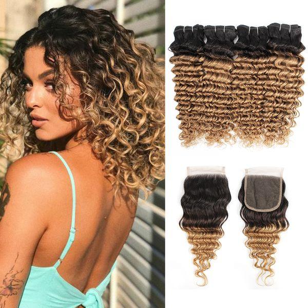Ombre Paquetes de cabello rizado rubio con cierre 1B 27 Deep Wave 4 paquetes con cierre de encaje 4x4 Extensiones de cabello humano remy rizado brasileño