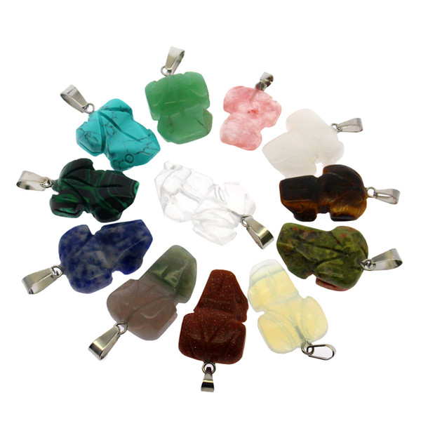 Natural gemstone crystal semi-precious stone frog shape12 mixed color agate pendant necklaces