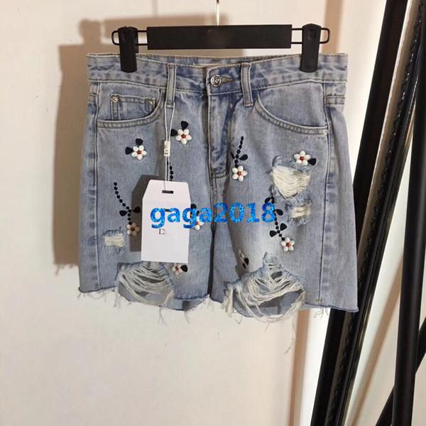 women girls denim shorts embroidery flora broken hole frayed loose mini jeans trousers short pants high-end fashion luxury runway dress