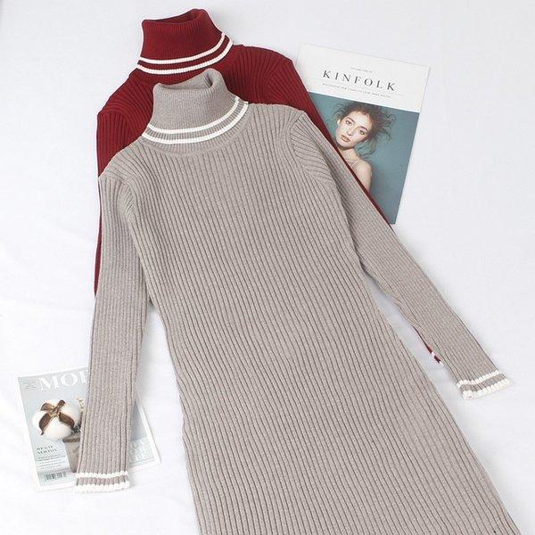 gigogou turtleneck warm women sweater dress mid-calf long sleeves autumn winter female dresses slim soft rib knitted dresses