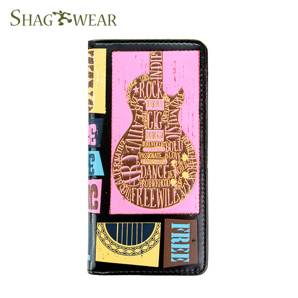 Shag Wear Rock Festival Guitar Pattern Long Wallet Designer Luxury Handbag Wallet Purse With Coin Pocket Card Holder Money Slot Customized