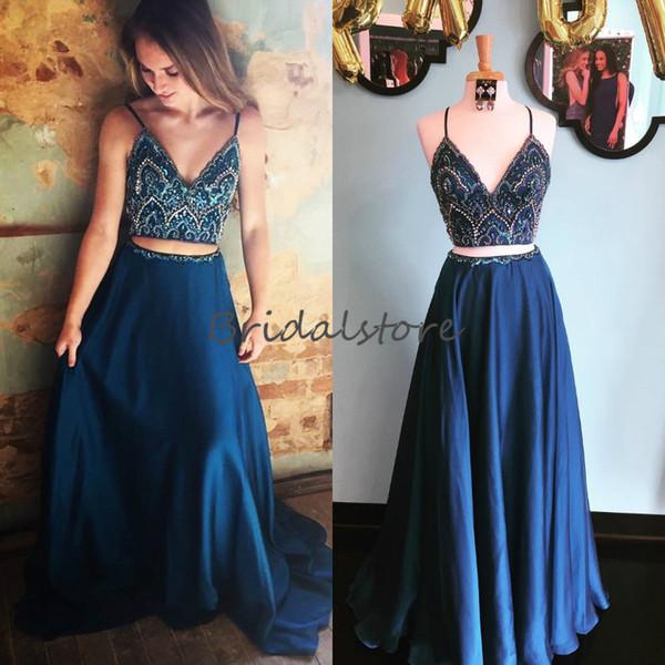 Compre Sexy Azul Marino Dos Piezas Vestidos De Baile 2019 Putas Correas Espaguetis Con Cuentas Hasta El Suelo Largos Largos Vestidos De Noche