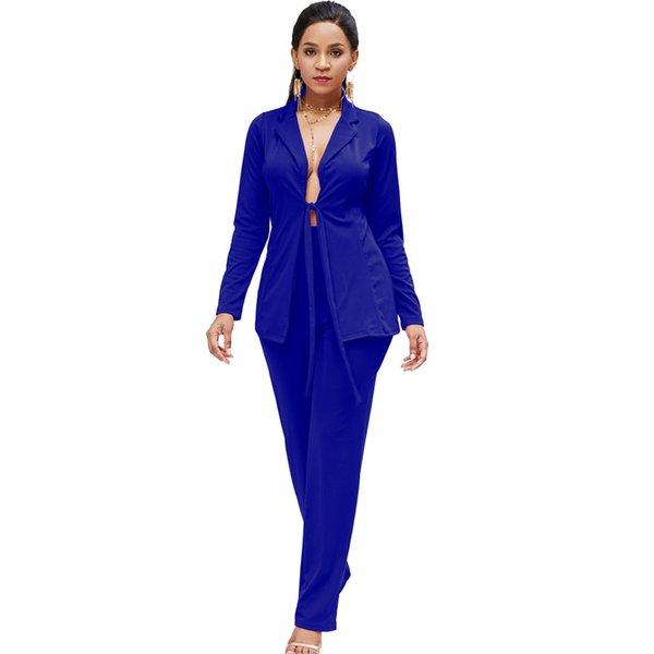Bow Tie Blazers trajes para mujer conjunto de dos piezas de la chaqueta pantalones largos de alta calidad para mujer casual desgaste para traje de negocios otoño