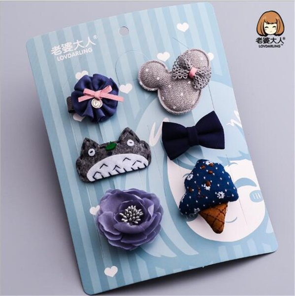 6 pcs/set cartoon bowknot hairpin birthday gift for baby girls children hair clips bows barrette accessories headdress hairclip