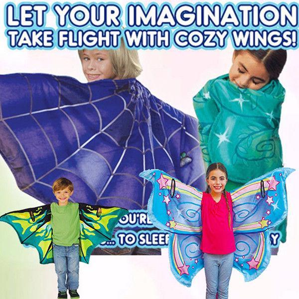 Asas acolhedoras bebê sonho borboleta asa manto crianças xale cachecol dos desenhos animados cabo multicolorido crianças asa de magia cobertor 130 * 60 cm mma1177 30 pcs