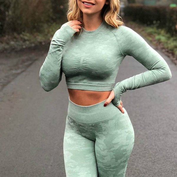 Camouflage Seamless Yoga Top Long Sleeve With Thumb Holes Workout Camo Tops For Women Fitness Gym Crops Top Athletic Gym T Shirt