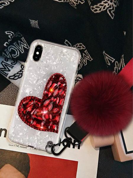 Fashioh telefon 11pro / 11 / 11promax Tasarımcı Iphone XR XSMAX X / XS Hairball 7 p / 8p Telefon Kılıfı Moda Kalp ShapeRhinestone Gerçek Kapak Wholesale2