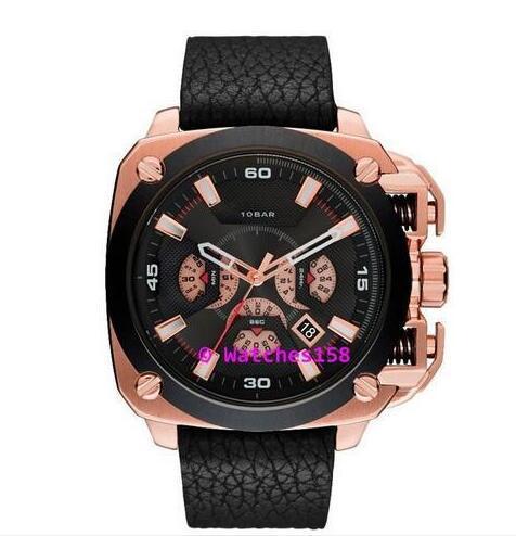Бесплатная доставка 7346 мужской BAMF черный циферблат с черным кожаным ремешком ХРОНОГРАФ Аналоговые кварцевые часы DZ7342 dz7343 dz7344 dz7345