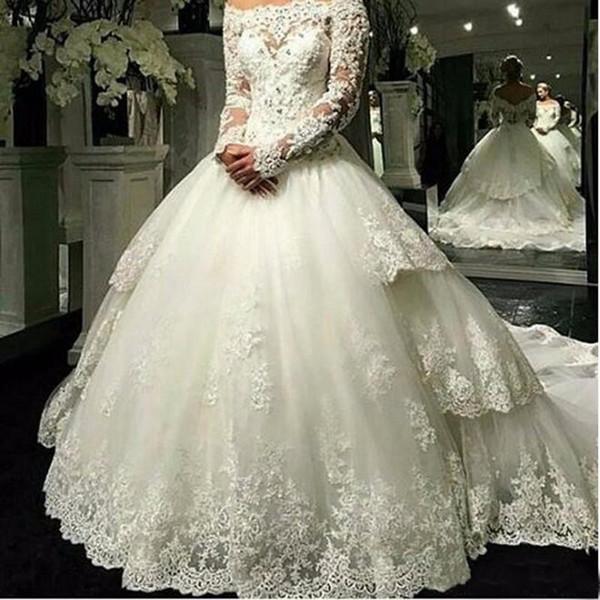 Manches longues Robe de mariée en dentelle Train détachable 2019 Robe de mariée en dentelle asymétrique Robe de mariée