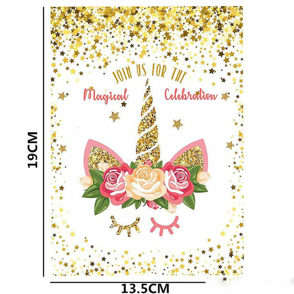 Christmas Card Greetings.Unicorn Party Supplies Christmas Greeting Card Join Us For The Magical Celebration White Gold Powder Birthday Invitation Cards Cards Greeting Cards