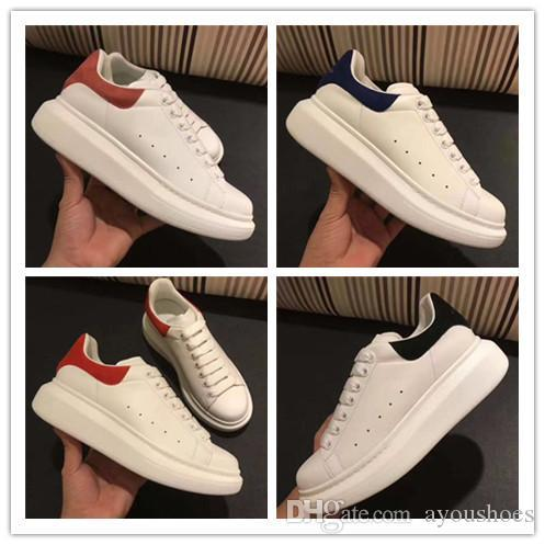 2018 Sale Mens Womens Fashion Luxury White Leather Platform Shoes Flat Casual Shoes Lady Black Red Pink Sneakers