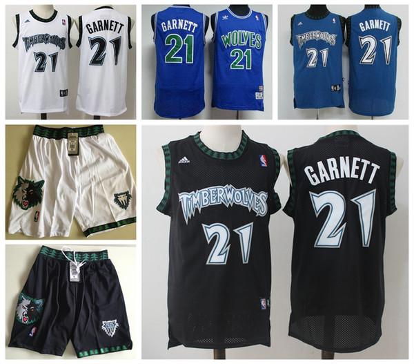 2019 Mens 21 Kevin Garnett Retro Blue Black White Jersey Authentic
