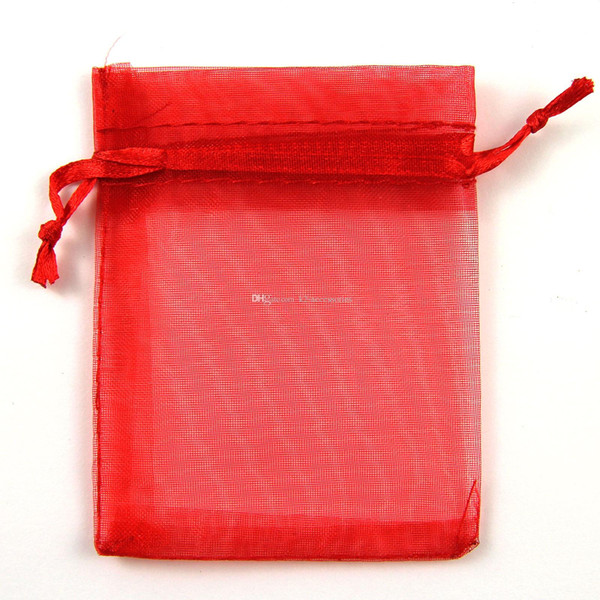 Hot Sales ! 100pcs HOT RED Drawstring Organza Gift JEWELRY packing Bags 7x9cm 9x12cm 10x15cm Wedding Party Christmas Favor Gift Bags