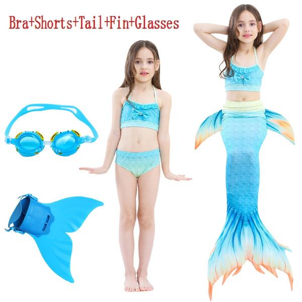 Hot 2018 Kids Mermaid tail with Girls Costumes Zeemeerminstaart Cola De Sirena Cauda De Sereia Cosplay Costumes for Swim