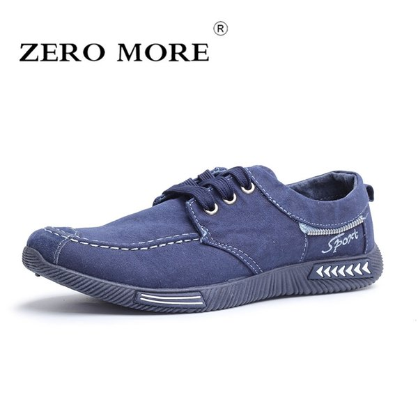 b3518cdcf6 ZERO MAIS Sapatas Dos Homens de Lona Denim Lace Up Moda Homens Sapatos  Casuais Novo 2019