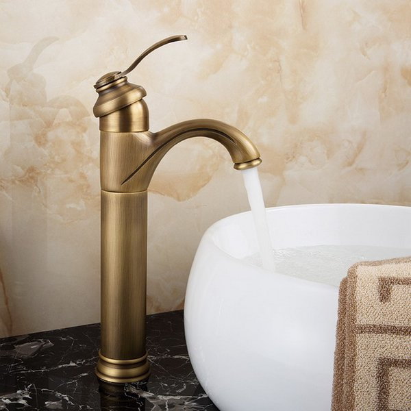 Antique Brass Single Handle Deck Mount Bathroom Basin Vanity Sink Faucet Cold And Hot Water Tap KD731
