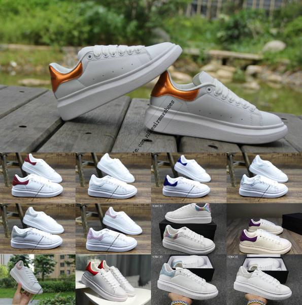 2019 Lüks Tasarımcı ayakkabı Marka Beyaz Siyah Deri Rahat Ayakkabılar Kız Kadın Erkek Pembe Altın Kırmızı Rahat Düz Sneakers Mcqueenshoes