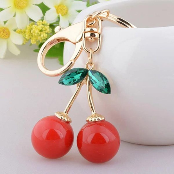 free shipping 30pcs/lot Lovely red cherry keychain purse hanger wedding bridal showers party favors and giveaway gift supplies